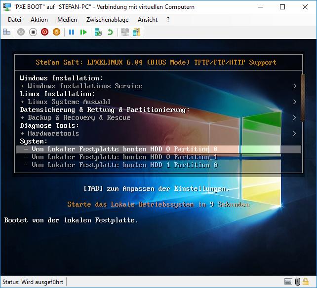 Hyper-V PXE BIOS BOOT mit Syslinux