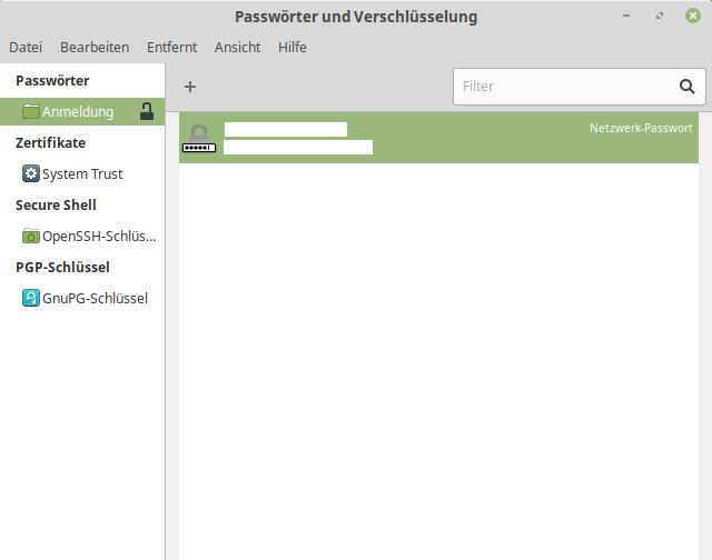 Passwörter & Verschlüsselung Netzwerk-Passwort