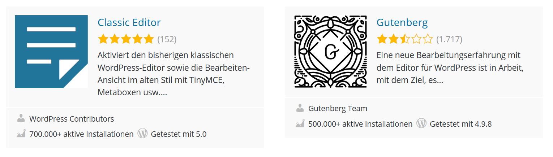 Gutenberg Installationen und Bewertungen vom 08 Dezember 2018.