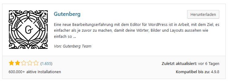 Gutenberg Installationen und Bewertungen vom 23 August 2018.