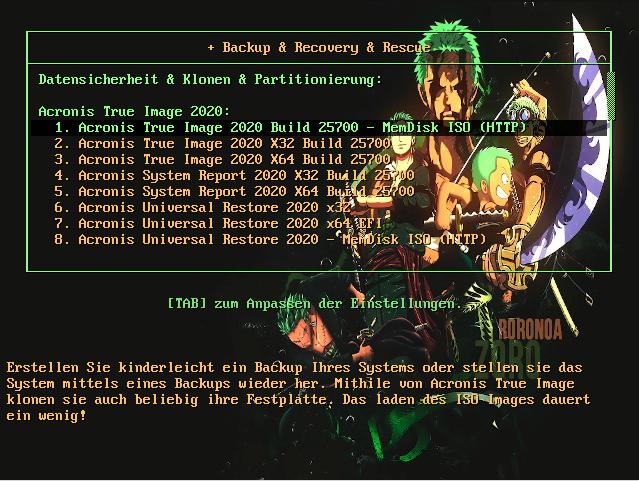 PXELinux Acronis Einträge