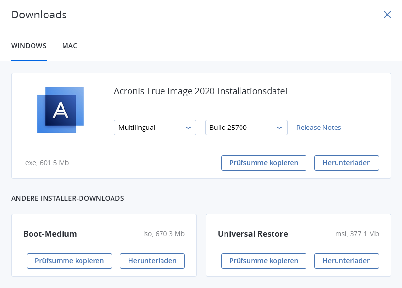 Acronis True Image 2020 Downloadmenü
