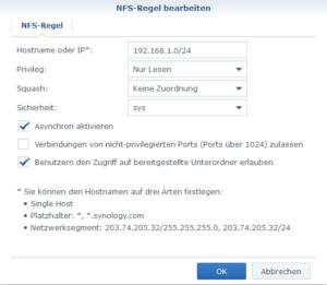 Synology Gemeinsamer Ordner NFS-Regel