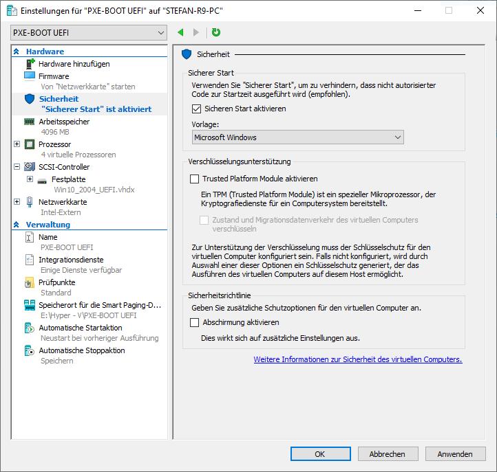 Hyper-V PXE UEFI Secure Boot