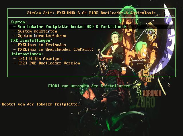 PXELinux Legacy Menü