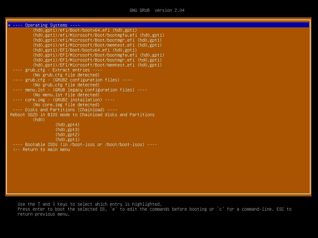 Super Grub2 - Betriebssysteme suchen
