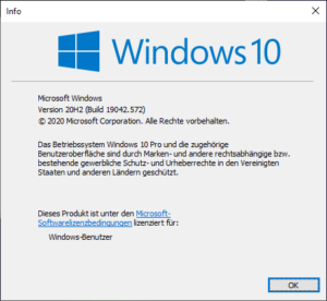 Windows 10 Version 2009/20H2 Informationsbildschirm