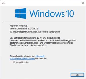 Windows 10 Version 2009/20H2 Informationsbildschirm
