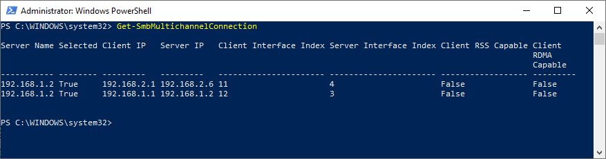 Powershell SMBMultichannel