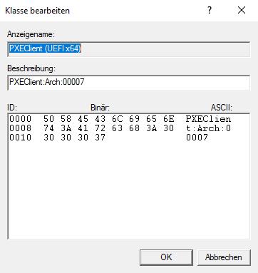 Windows DHCP Herstellerklassen