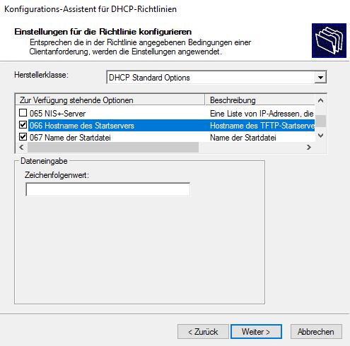 Windows DHCP Richtlinie DHCP Optionen UEFIx64