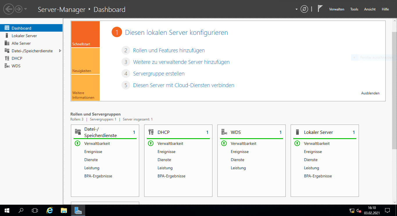 Windows Server 2016 Servermanager