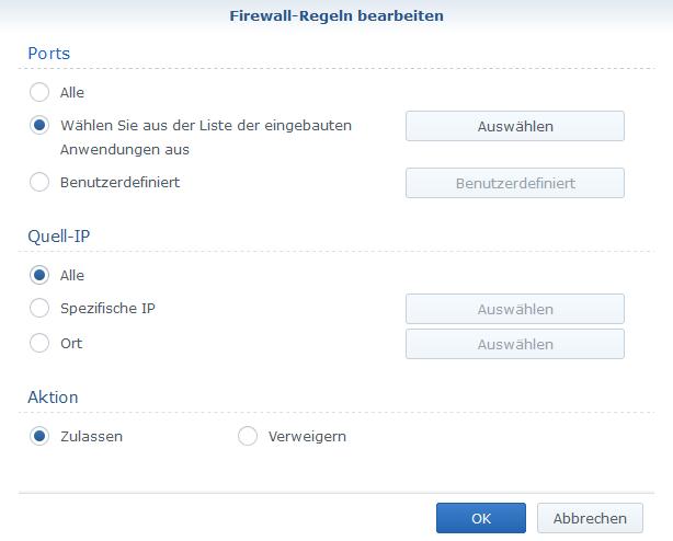 Synology-NAS Firewall Konfiguration VPN Extern