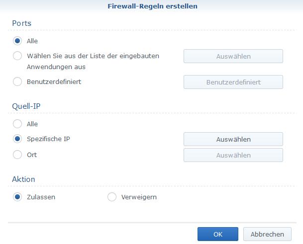 Synology-NAS Firewall Konfiguration VPN Subnetz