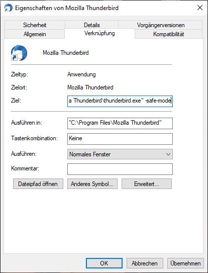 Thunderbird Safemode